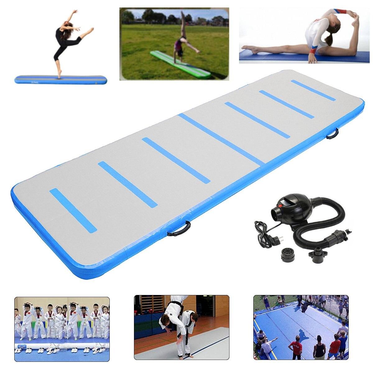 HOT 300x90x10cm 300x90x10cm Inflatable Air Track Tumbling Floor Gymnastics Training Pad GYM Mat Taekwondo Air Cushion with pump target kick pad for taekwondo training black red