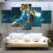 5 Panel HD Print The Legend of Zelda: Breath the Wild game wall posters Canvas Art Painting For home living room decoration