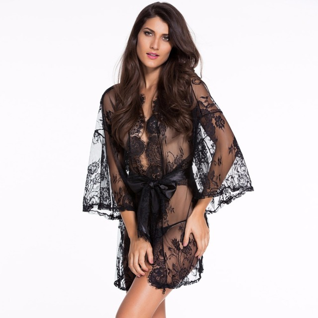 Secret Zone Embroidery Hollow Sexxy Women Single Robe Path With Belt Lace Female Bathrobe