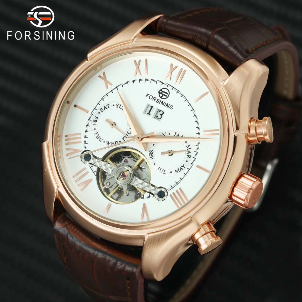 лучшая цена FORSINING Fashion Rose Golden Mens Watches Tourbillon Sub-dials Auto Mechanical Watch Men Genuine Leather Band Top Brand Luxury