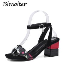 Bimolter New Summer Open Toe Thick Heel Women Floral Sandals Flock Strange Style Shoe Classic Gladiator Shoes PSEB004