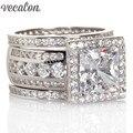 Vecalon Роскошные Ювелирные Изделия Обручальное Обручальное кольцо Набор для женщин Подарок 3ct Имитация алмазный Cz Стерлингового Серебра 925 Партия кольцо