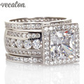 Vecalon Luxury Jewelry Engagement wedding Band ring Set for women Gift 3ct Simulated diamond Cz 925 Sterling Silver Party ring