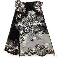 Beaded Lace Fabric Fashion African Black Lace Fabric Appliqued African French Lace Fabric High Quality With