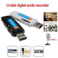 2019 nueva llegada u-disk Audio Digital grabadora de voz Pen charger USB pendrive hasta 32GB Micro SD TF alta calidad J25