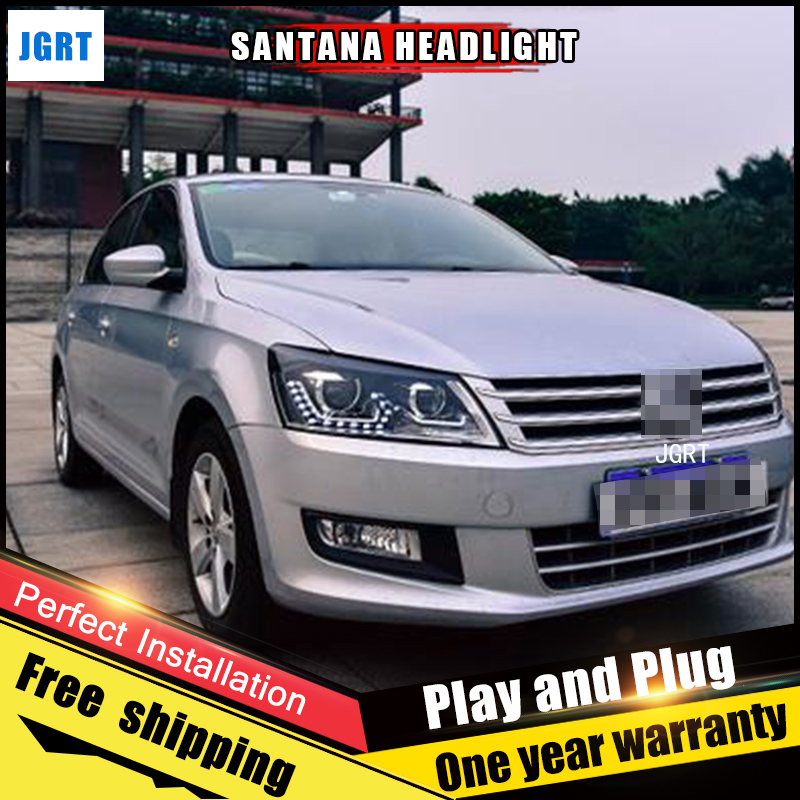 Car Style LED headlights for VW santana 2012-2015 for santana head lamp LED DRL Lens Double Beam H7 HID Xenon bi xenon lens 2pcs car style led headlights for vw polo 2011 2017 for vw polo head lamp lens double beam h7 hid xenon bi xenon lens