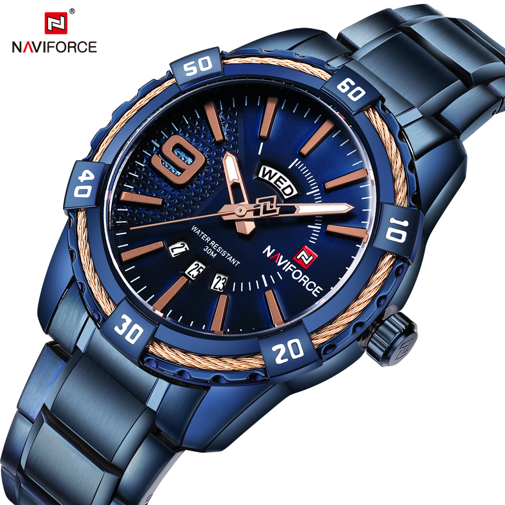 NAVIFORCE Top Luxury Mens Watch Fashion Casual Date Display Watches Business Men Dress Wristwatch Full Steel Male Clock Relogio forsining date month display rose golden case mens watches top brand luxury automatic watch clock men casual fashion clock watch