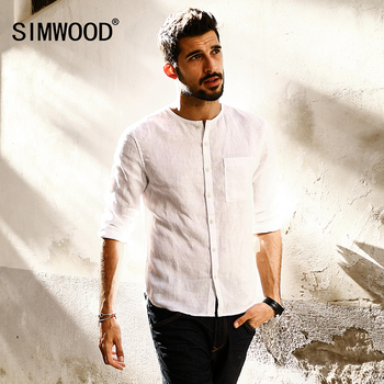 Casual Long Sleeve O neck Pure Linen Slim Fit Shirts