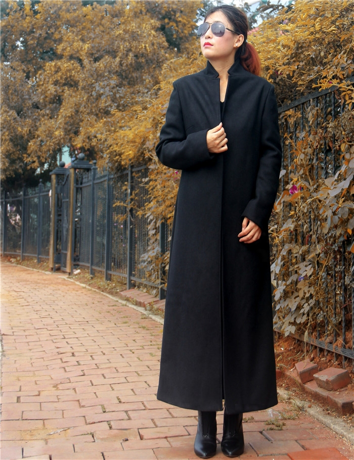 Autumn winter woman elegant maxi coat ankle length coat x long ...