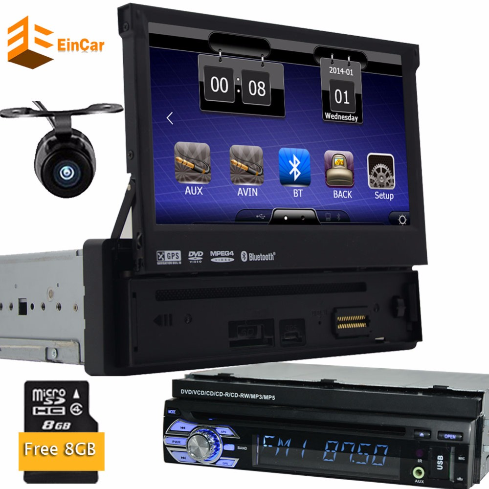 <font><b>1Din</b></font> Headunit Detachable Panel Touchscreen <font><b>Car</b></font> <font><b>Radio</b></font> Stereo Free 8GB GPS Map Card Backup Camera Autoradio <font><b>Bluetooth</b></font> Aux CD DVD