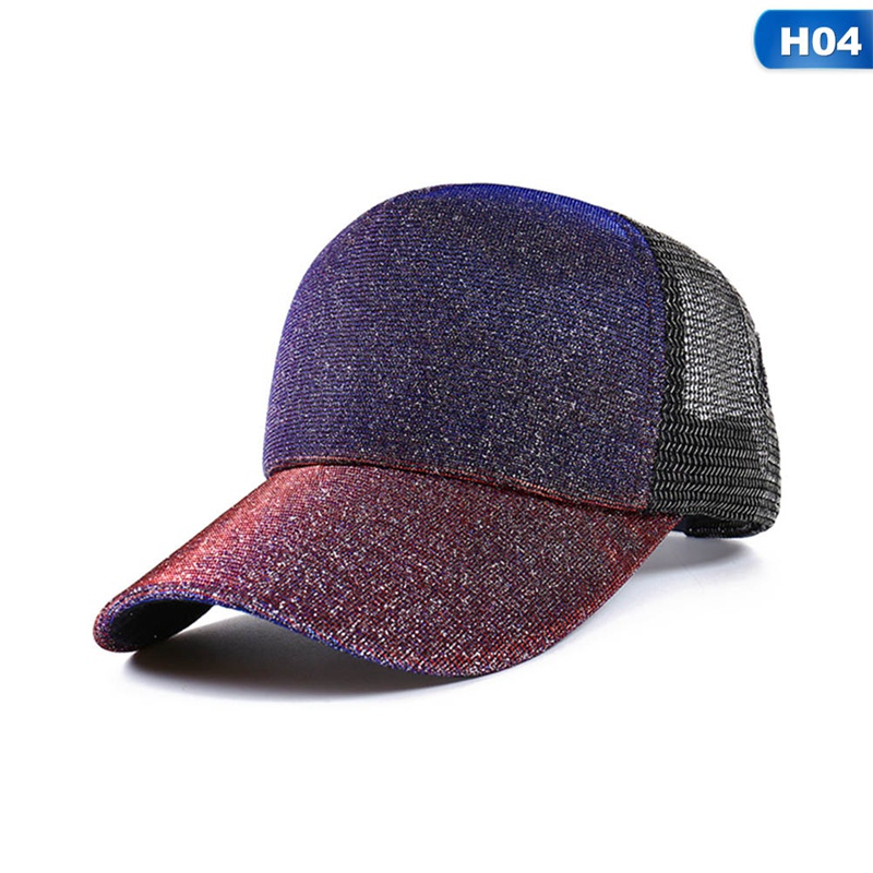 New Sequins Baseball Caps With Foams Mesh Classic Visor Hat Fashion Girl Back Hole Tail