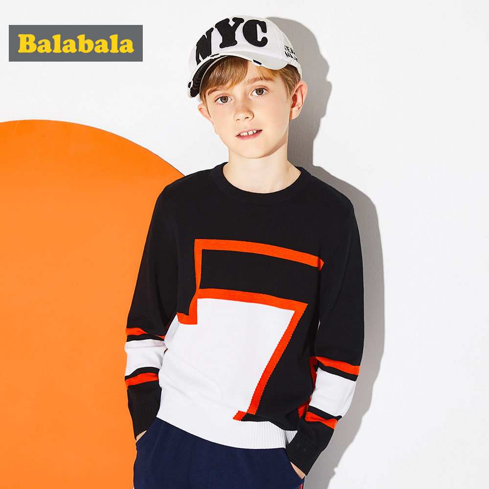 Balabala Boys Color Block Fine-Knit Sweater in 100% Cotton Teenage Boy Soft Pullover Sweater with Ribbed Crewneck Cuff and Hem bts taehyung warriors