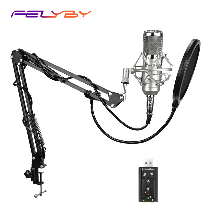 FELYBY Professional bm 800 Condenser Microphone for computer Audio Studio Vocal Recording Mic KTV Karaoke Microphone