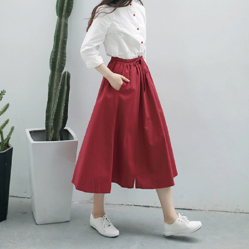 New Spring Summer Women A Line Midi Skirt Elastic Waist Casual Pure Color Female Skirts Red Navy Blue Cotton Linen Elegant Skirt