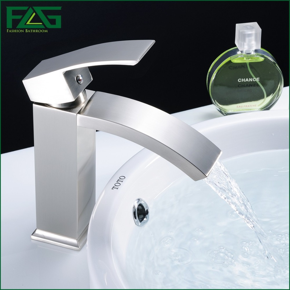 Hot and cold water faucet for outdoor sink - Flg Basin Faucet Bathroom Tub Waterfall Faucet Single Handles Mixer Cold Hot Bathroom Faucet Brushed