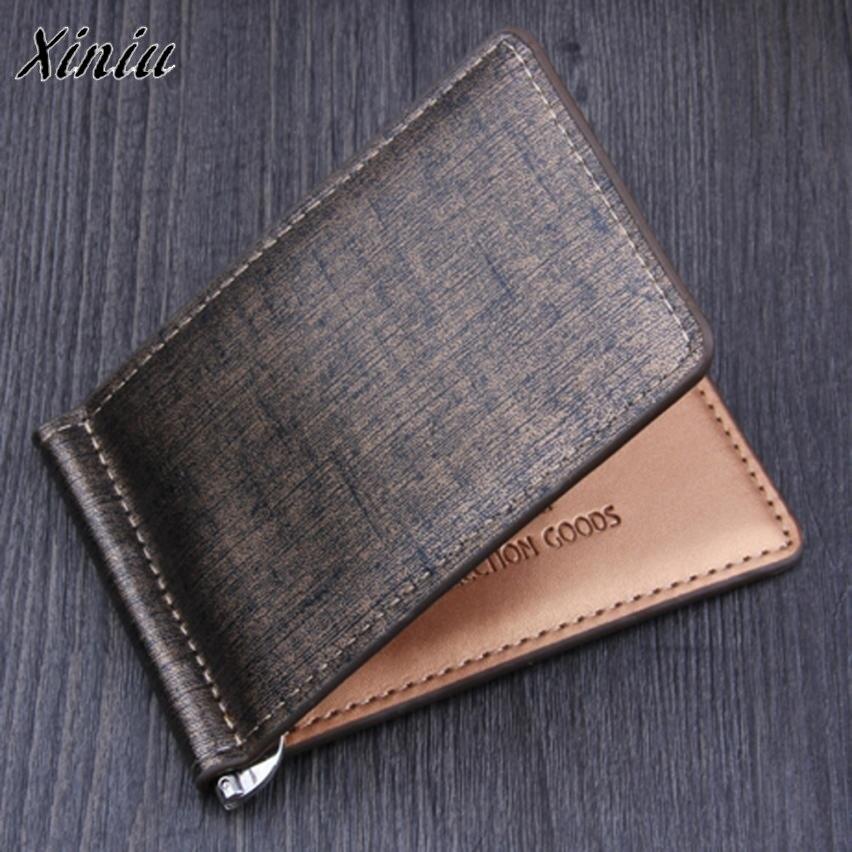 Carteira de couro de negócios bifold carteira de luxo marca famosa id cartão de crédito cartões de visita carteira multi-funcional magia dinheiro clipes