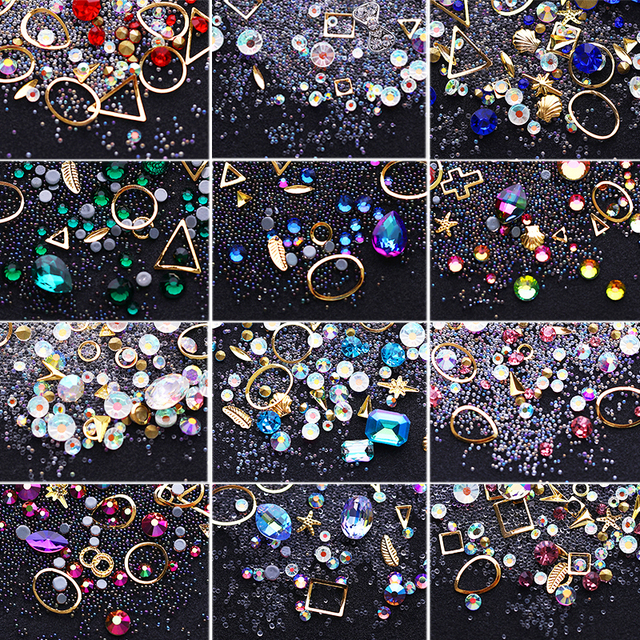 1 Box Flat Back Colorful 3D Nail Rhinestones Mixed Alloy Metal Frame DIY Art Nails Crystals Manicure Nail Art Decoration