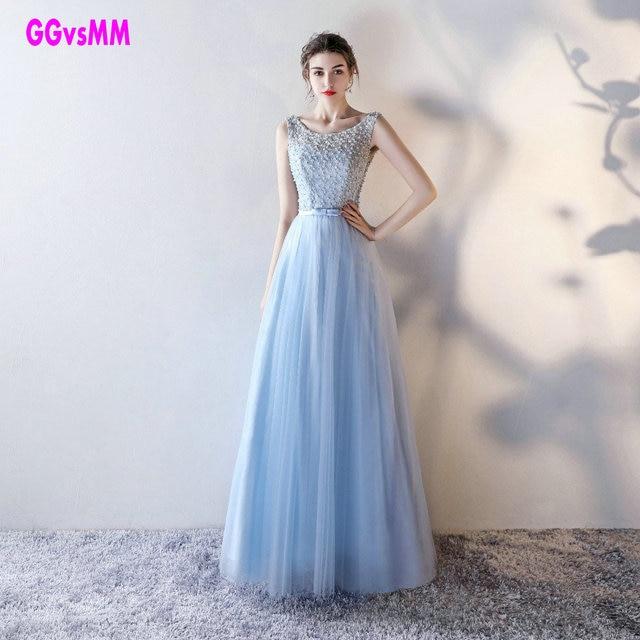 Elegante Azzurro Cielo UNA linea Vestito Da Promenade Lungo Sexy Lace,Up  Vestido De festa