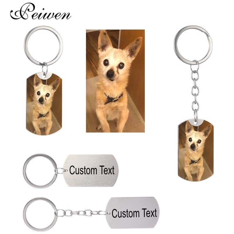 Custom DIY Dog Tag Photo Keychain Stainless Steel Personalized Engraved Photograph Keychain For Love Dog People Dog Keepsake New