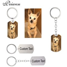 Custom DIY Dog Tag Photo Keychain Stainless Steel Personalized Engraved photograph For Love People Keepsake New
