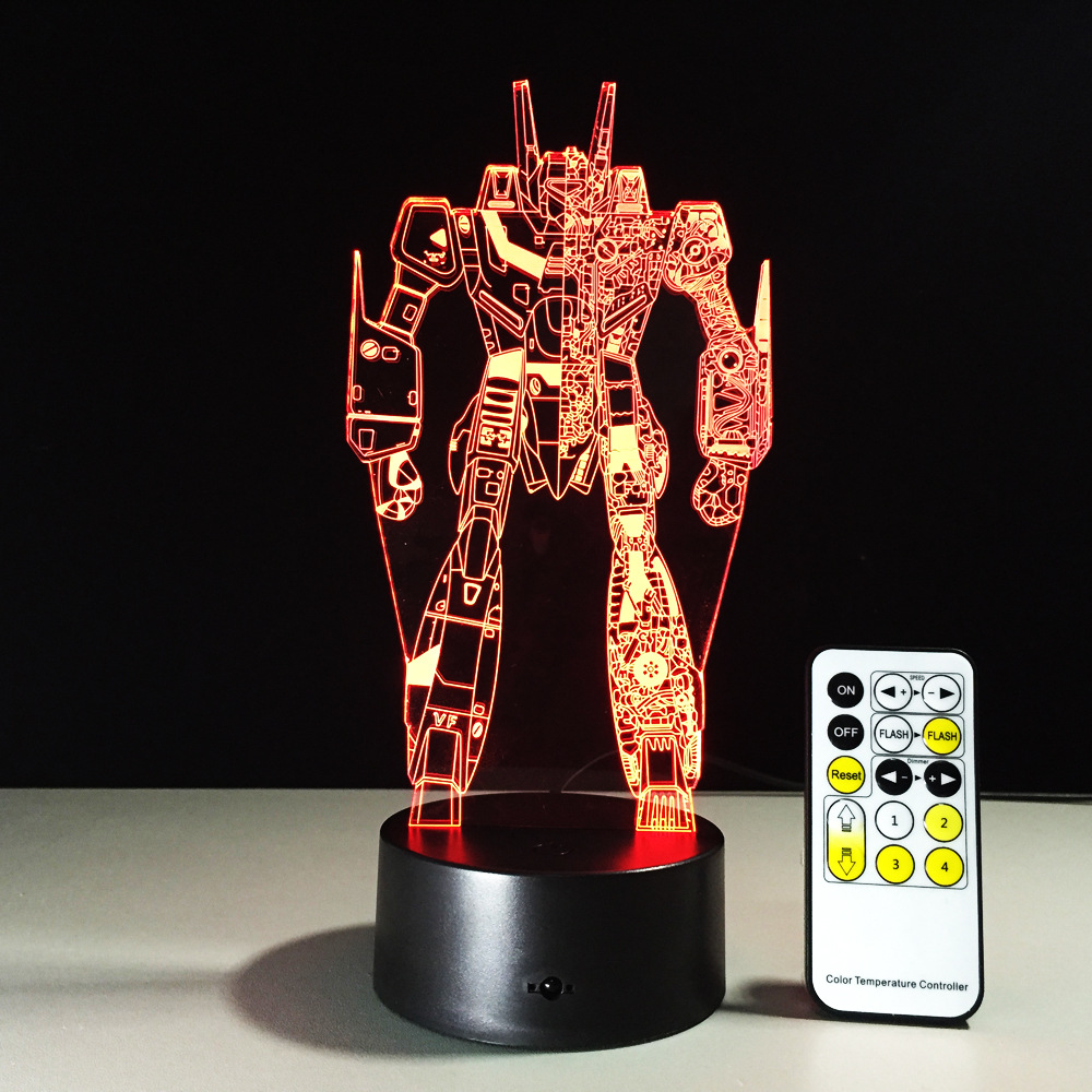 Transformers 3D Night Light RGBW Changeable Mood Lamp LED Light DC5V USB 3AA Battery Decorative Table Lamp With Remote Control