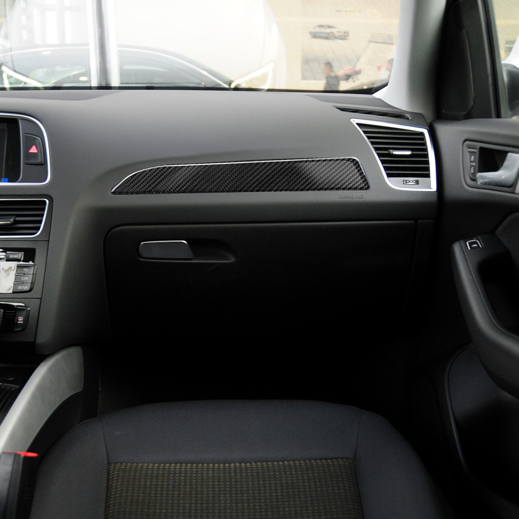 For Audi A4 A5 B8 Refit Car Carbon Fiber Console Control CD Frame Cover Trim Interior Air Conditioning Knobs Frame
