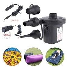 купить 12V /220V Portable Car Air Compressor pump kompresor Tyre Tire Inflator Pump with 3 Nozzles EU Plug for Air Bed Boat Mattress дешево