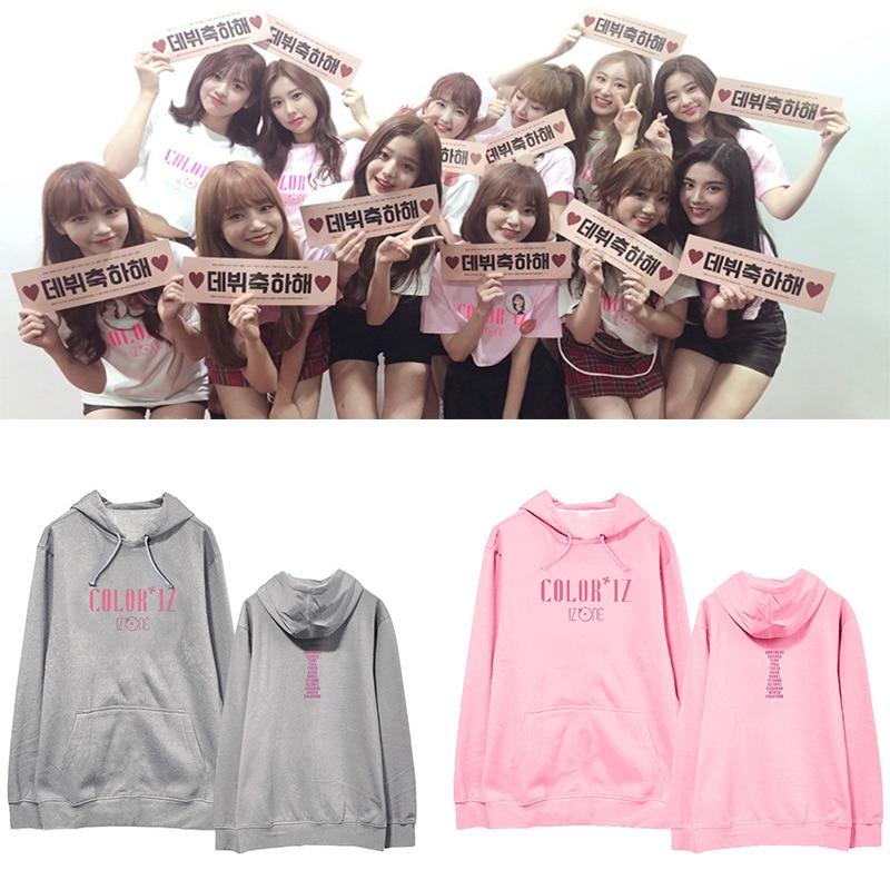 Kpop IZONE Pink cotton loose Hooded Sweatshirt women Korean Popular Hip Hop Winter warm Fashion Men Hoodies Casual women Clothes sweatshirt