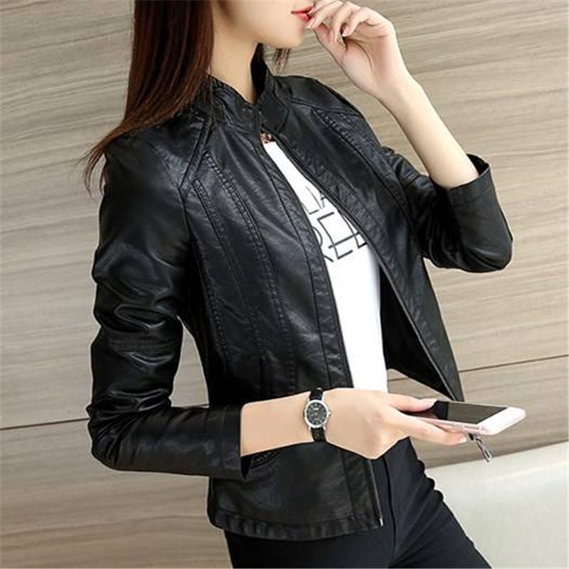 2019 Spring Autumn Women Moto Washed PU   Leather   Short Jacket Female Mandarin Collar Slim Faux   Leather   Coats Casaco Mujer K220