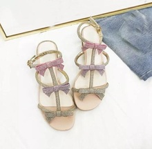 Sweet Pink Bowtie Crystal Embellished Womens Square Heel Sandals Cut-out Ankle Strap Summer Shoes Real Photo Rome T-bar
