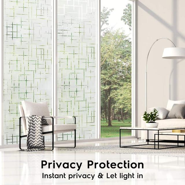 Window 3D Privacy Film Static Window Clings Vinyl Window Decals Window Sticker for Glass Door Home Heat Control Anti UV 2
