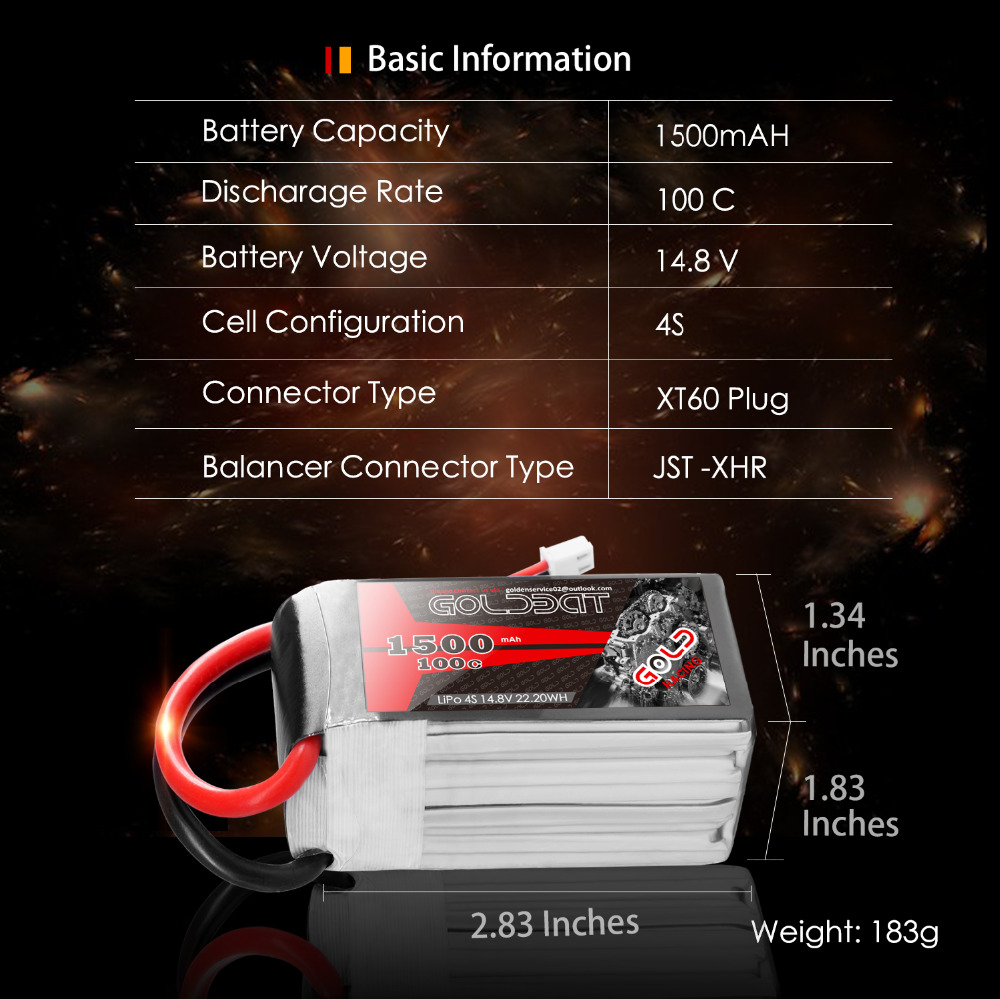 Image 2 - 2units GOLDBAT 1500mAh 4S Battery lipo for Drones 14.8V Lipo Battery 4s for fpv 100C lipo with XT60 Plug for Airplane FPV Racing-in Parts & Accessories from Toys & Hobbies