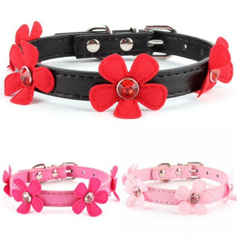 Pet Small Dog Cat PU Leather Adjustable Flower Neck Strap Collar Buckle XS S M L