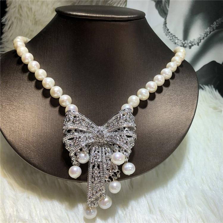 Mano anudada 9 10mm blanco natural perla de agua dulce bowknot micro incrustaciones zircon collar joyería de moda-in Collares de cadena from Joyería y accesorios    2