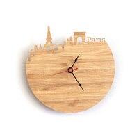 아트 천연 나무 벽 시계 특별 국가 디자인 프랑스 파리 도시 실루엣 기하학적 모양 자동으로 장식 홈 시계
