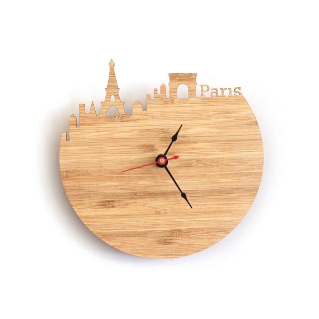 Art Natural Wood Wall Clock Special National Map Design France Paris ...