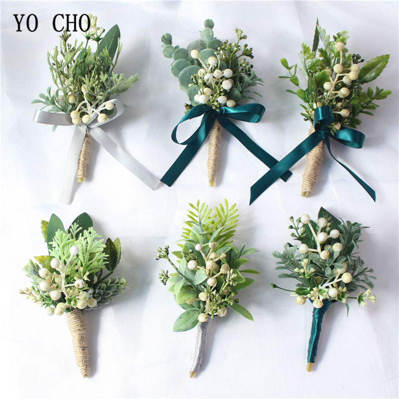 YO CHO Boutonniere Groom Corsages White Green Berries Artificial Eucalyptus Plant Leaf Pine Needle Rustic Party Wedding Supplies