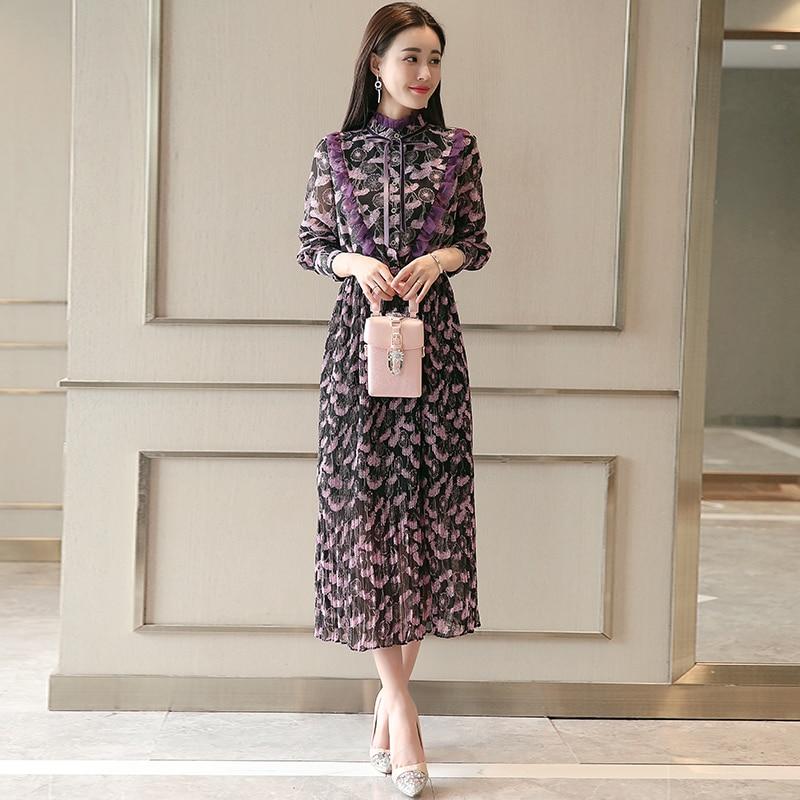 Bow veau En Volants Complet Dames Élégante De Femme Collier purple Mince Partie Imprimer Robe Vintage Mousseline Robes Soie Manches Mi Green SfqIYP