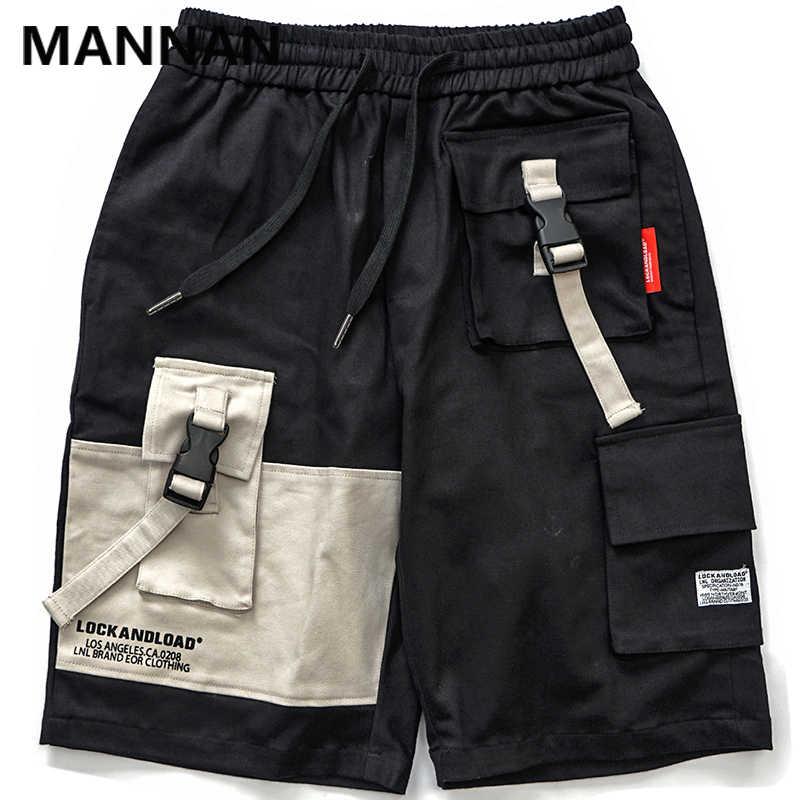 المنان اللون كتلة خليط متعدد جيوب البضائع فضفاض السراويل رجل عارضة الجانب حزام مشبك عارضة سراويل قصيرة السراويل الذكور