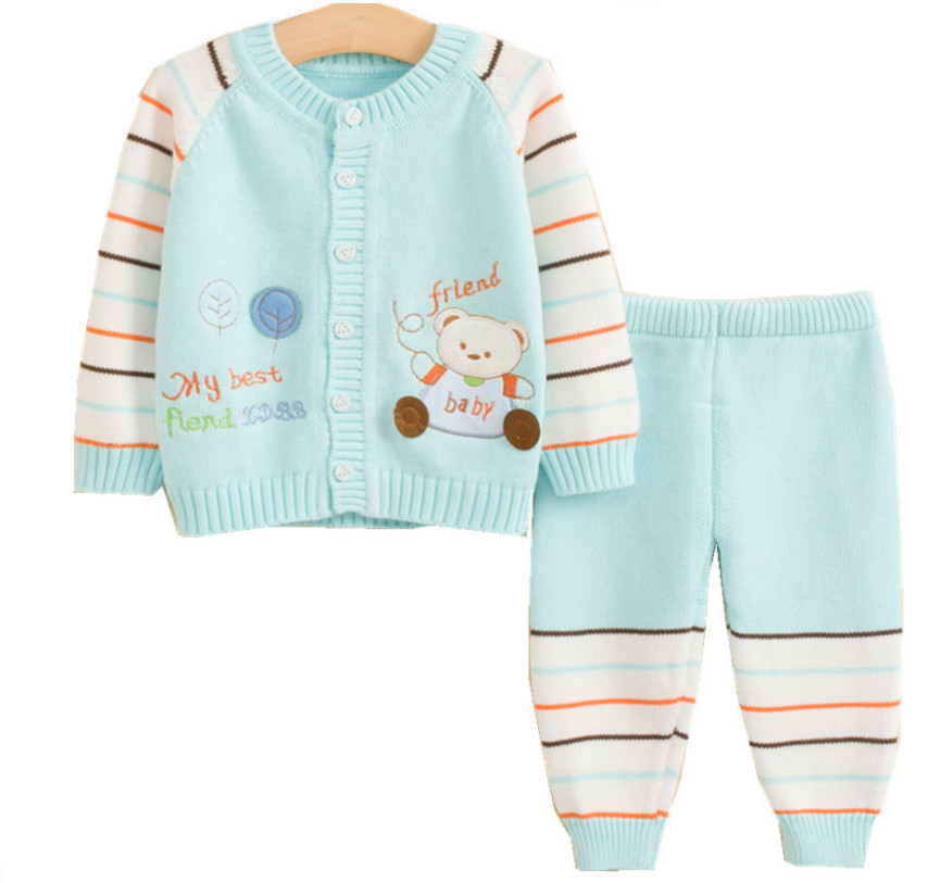 Hot Boys Girls Children Clothes Winter Cartoon Bear Fish Sweater Cardigan Jacket+Striped Pants Clothing Sets for Newborn Baby