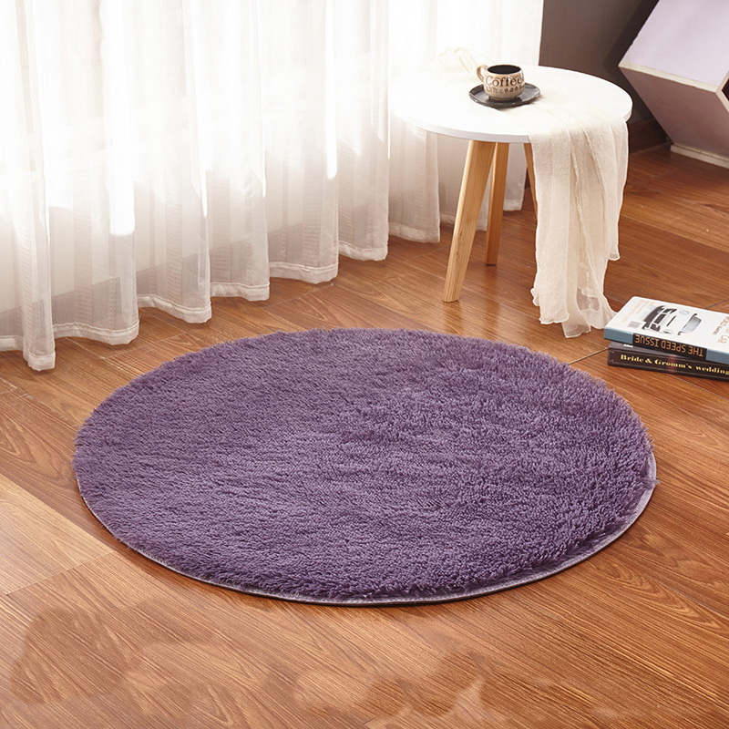 Fluffy bedroom round rug carpets yoga living room kilim for Round rugs for kids