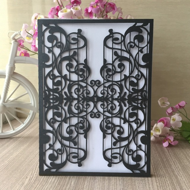 100Pcs Music Theme Party Birthday Decoration Wedding Invitation Card Greeting Blesing Laser Cut Pearliscent Paper