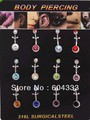 12 шт. Двойной Crystal Bell Button Кольца Горный Хрусталь Кольца Пупка Кристалл Пупок Пирсинг Украшения
