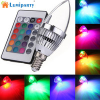 LumiParty 3 W RGB LEVOU Vela-como Forma de Lâmpada IR Controle Remoto Sem Fio Ajustável 16 Cores Mudando E14 Lâmpada do bulbo