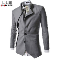 2017 Hot Casual Slim Fit Stylish Single Breasted Suit Blazer Mens Coat Male Fashion Stand Neck