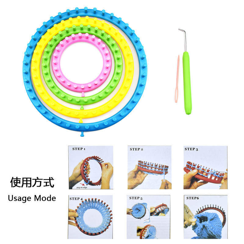 8pcsset DIY Knitting Tool Set Round Knitter Looms Ring Yarn Needle Sock Scarf Hat Maker Chirldren DIY Ball Yarn Weave Loom Set  (14)
