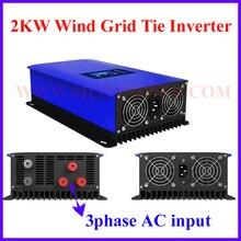 MPPT 2000W 2KW Vento Power Grid Tie Inverter con Regolatore di Carico del Deposito/Resistenza per 3 Phase 48v 60v 72v vento generatore di turbina