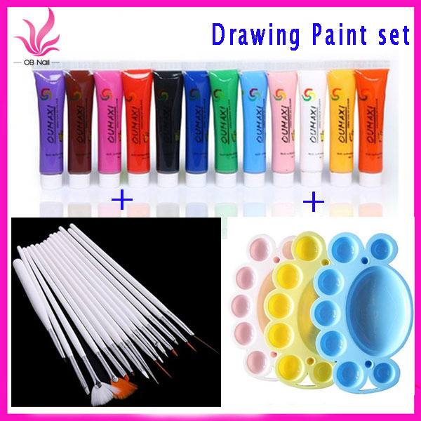 12 Colors Acrylic Paint Nail Art Polish 3d Decor Design Tips 15pcs