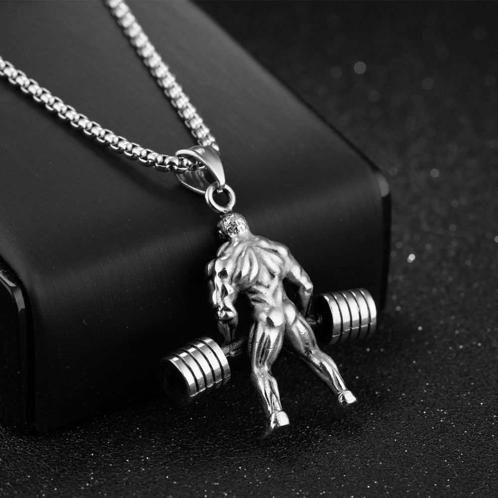 Hercules Weightlifting Necklace Men Jewelry Colar Masculino