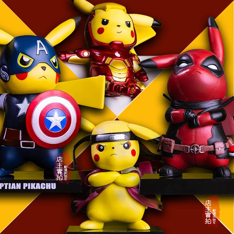 Pikachu Cosplay Deadpool Captain America Iron Man Super Mario Naruto Kakashi PVC Figure Collectible Model Toy 21cm naruto hatake kakashi pvc action figure the dark kakashi toy naruto figure toys furnishing articles gifts x231